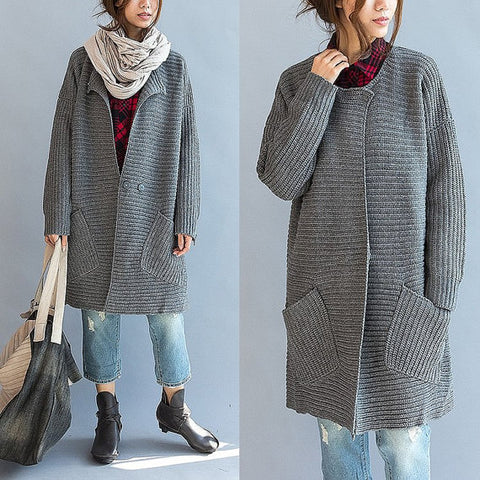 Womens Long Hand Knit Coat 46F
