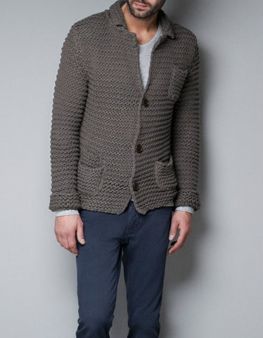 MADE TO ORDER MEN HAND KNIT CARDIGAN 131A