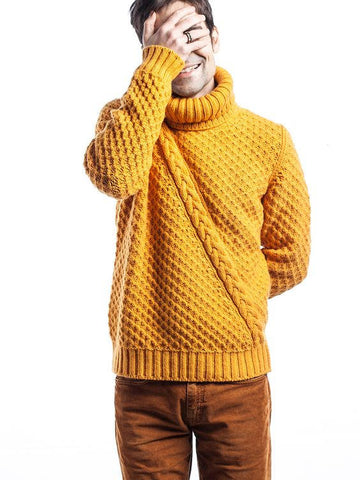 Men's Hand Knit Turtleneck Sweater 116B - KnitWearMasters