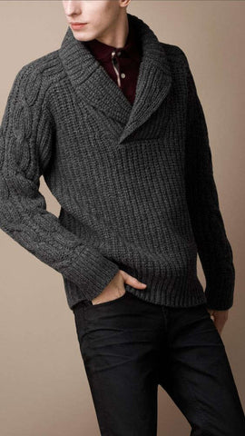 Men's Hand Knit Shawl Collar Sweater 109B - KnitWearMasters