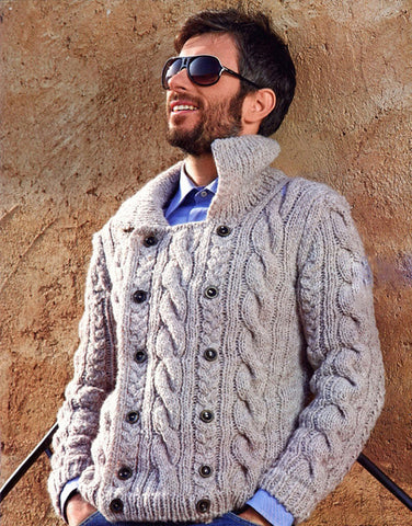 Men's Hand Knit Double Breasted Cardigan 12A