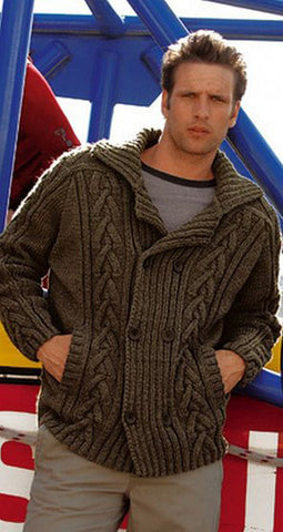 Men's Hand Knit Double Breasted Cardigan 5A