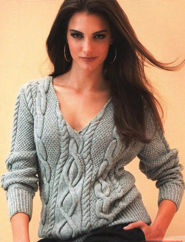 Women's Hand Knit V-neck Sweater 1J - KnitWearMasters
