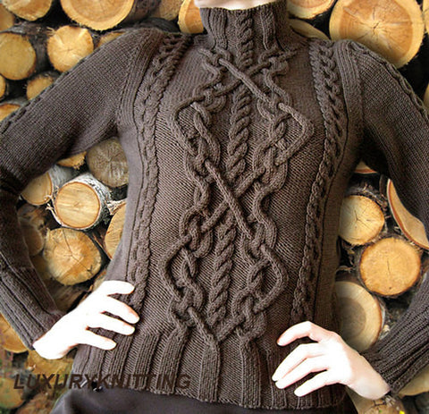 Womens Hand Knit Turtleneck Sweater 33K - KnitWearMasters