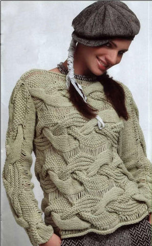 Women's Cable Knit Boatneck Sweater 40C - KnitWearMasters