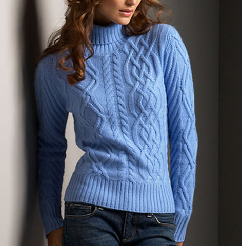 Women's Cable Knit Turtleneck Sweater 6K - KnitWearMasters
