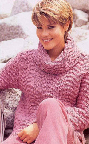 Women's Hand Knit Cowl Neck Sweater 11H