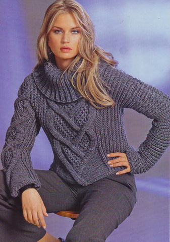 Women's Hand Knit Cowl Neck Sweater 10H