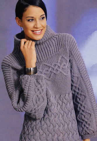 Womens Hand Knit Turtleneck Sweater 20K - KnitWearMasters