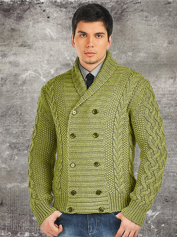 Men's Hand Knit Double Breasted Cardigan 4A