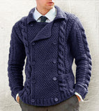 Men's Hand Knit Double Breasted Cardigan 3A