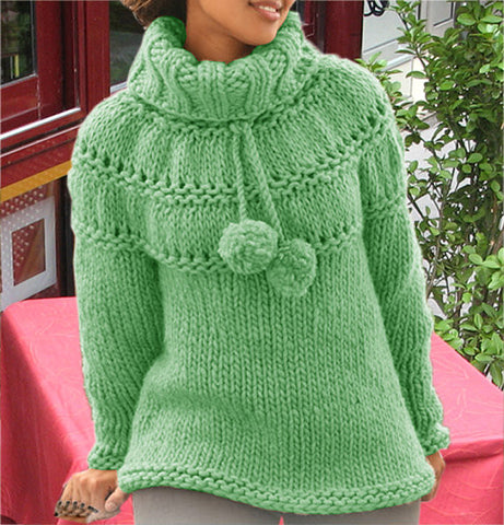 Women's Hand Knit Cowl Neck Sweater 19H
