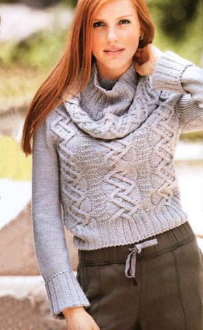 Women's Hand Knit Cowl Neck Sweater 20H - KnitWearMasters