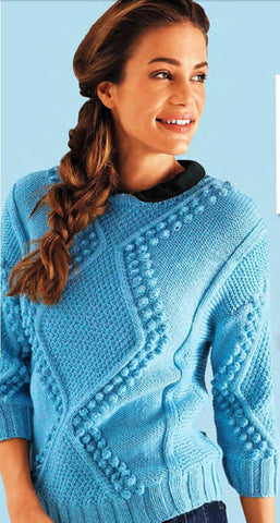 Womens Cable Knit Crew Neck Sweater 18G - KnitWearMasters