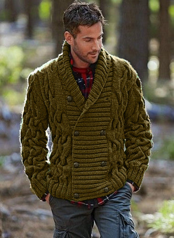 Men Hand Knit Double Breasted Cardigan 78A