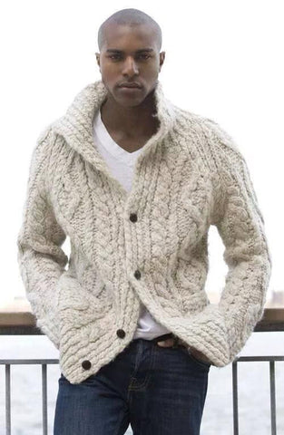 Men's Hand Knit Long Cardigan 34A - KnitWearMasters