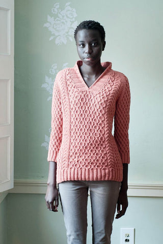 Women's Hand Knit V-neck Sweater 3J - KnitWearMasters