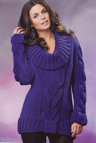 Women's Hand Knit Cowl Neck Sweater 18H - KnitWearMasters