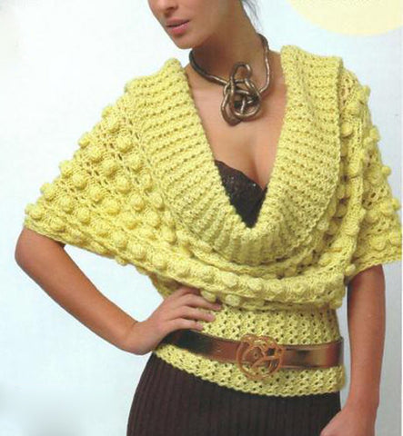 Women's Hand Knit Cowl Neck Sweater 16H - KnitWearMasters