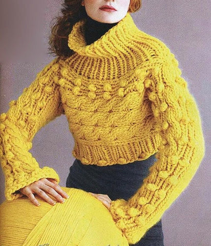 Womens Hand Knit Wool Turtleneck Sweater 59K - KnitWearMasters