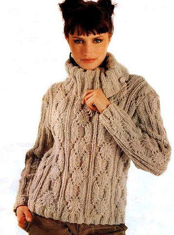 Womens Hand Knit Turtleneck Sweater 56K - KnitWearMasters