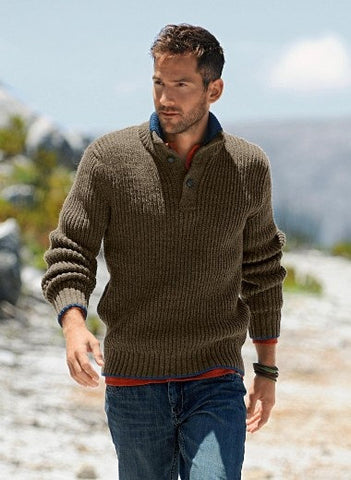 Men's Hand Knit Polo Sweater 104B