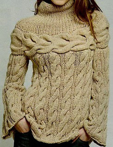 Womens Hand Knit Turtleneck Sweater 9K - KnitWearMasters