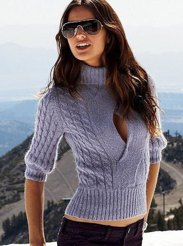 Women's Hand Knit Turtleneck Sweater 8K - KnitWearMasters