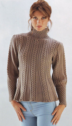 Womens Hand Knit Turtleneck Sweater 21K - KnitWearMasters