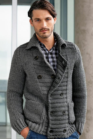 Men's Hand Knit Double Breasted Cardigan 19A - KnitWearMasters
