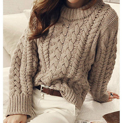 Womens Cable Knit Crew Neck Sweater 24G - KnitWearMasters