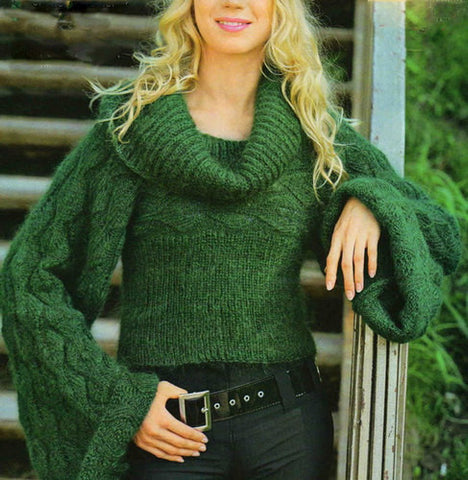 Women's Hand Knit Cowl Neck Sweater 14H - KnitWearMasters