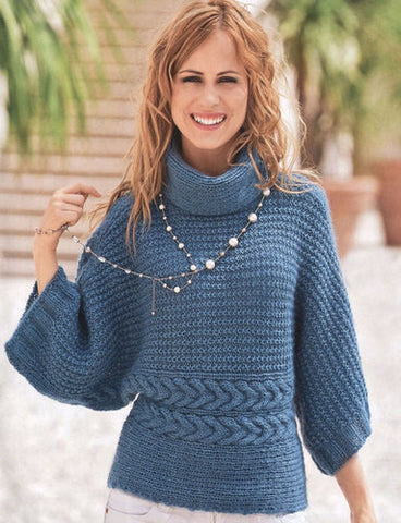 Women's Hand Knit Cowl Neck Sweater 13H - KnitWearMasters
