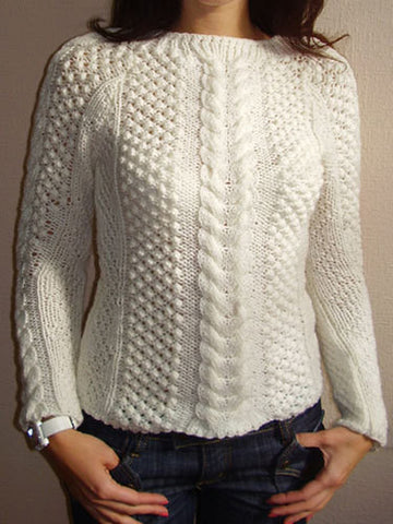 Womens Hand Knit Crew Neck Sweater 21G