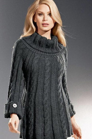 Women's Hand Knit Cowl Neck Sweater 12H - KnitWearMasters