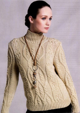 Womens Hand Knit Turtleneck Sweater 47K - KnitWearMasters