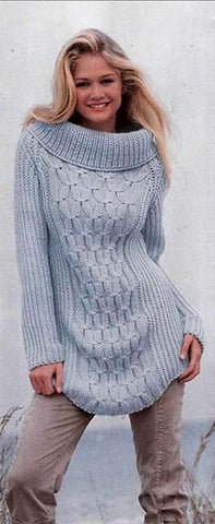 Women's Cable Knit Boatneck Sweater 37C - KnitWearMasters