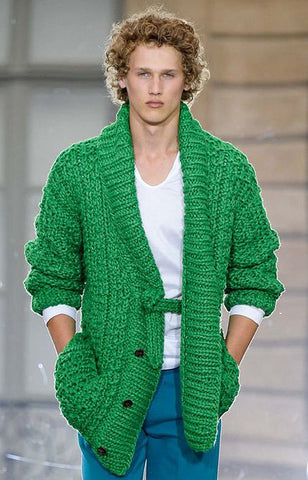 Mens hand knitted wool cardigan 75A