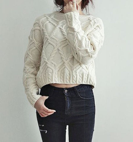 Womens Cable Knit Crew Neck Sweater 15G - KnitWearMasters