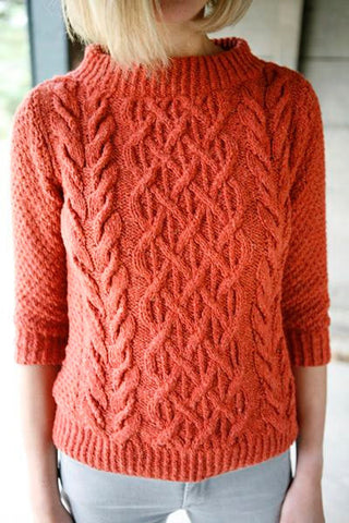 Womens Cable Knit Crew Neck Sweater 16G