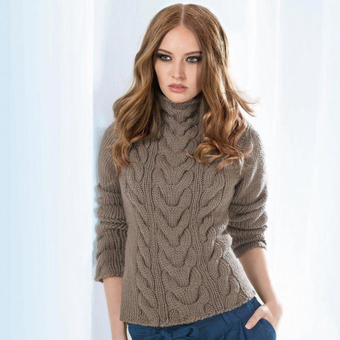 Womens Cable Hand  Knit Turtleneck Sweater 39K - KnitWearMasters