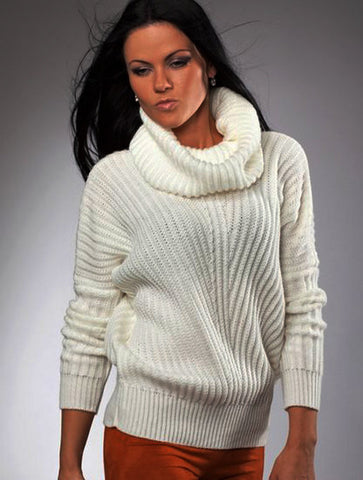 Women's Hand Knit Cowl Neck Sweater 8H - KnitWearMasters