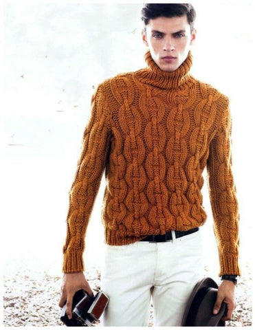 Men's Hand Knitted Wool Turtleneck Sweater 50B - KnitWearMasters