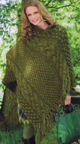 Womens Hand Knit Wool Poncho 28N