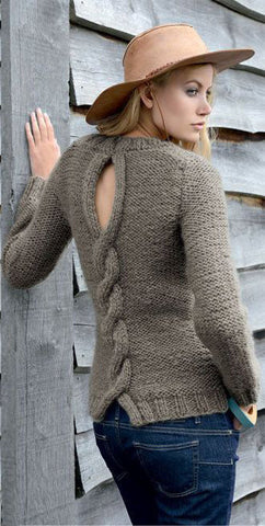 Womens Hand Knit Crew Neck Sweater 27G