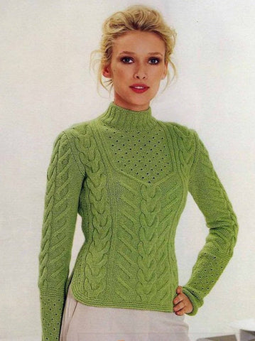Womens Hand Knit Cashmere Turtleneck Sweater 61K - KnitWearMasters