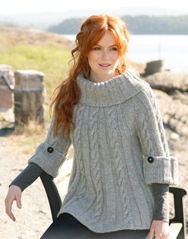 Women's Hand Knit Cowl Neck Sweater 15H - KnitWearMasters