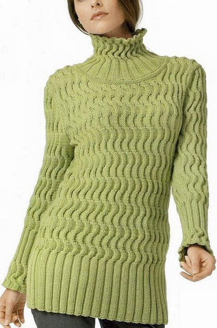 Womens Hand Knit Turtleneck Sweater 42K