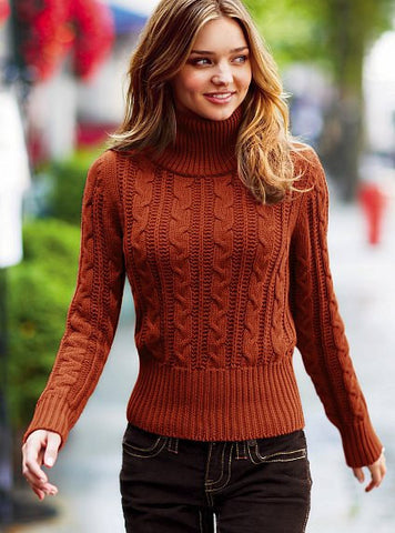 Womens Cable Knit Turtleneck Sweater 29K