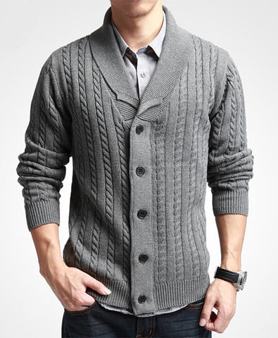 Mens knitted wool cardigan 74A